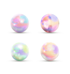 set realistic glossy marble balls with rainbow vector image