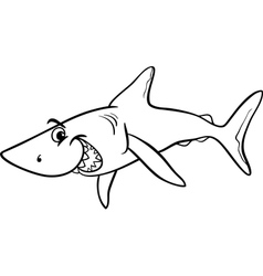 Shark animal cartoon coloring book vector
