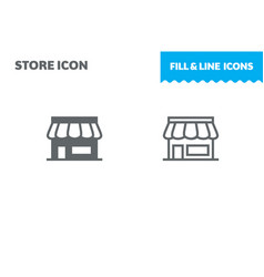 shop icon fill and line flat design ui vector image