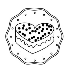 Silhouette frame dotted with heart shape cake vector