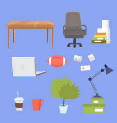 small clipart collection with office furniture vector image