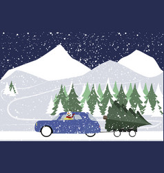 Snowman drives in a retro car on a winter road vector