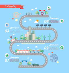 Step of ecology city with town road infographic vector