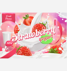 Strawberry yogurt fruits and milk splashes 3d vector