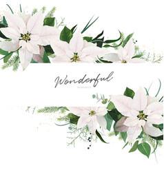 stylish winter season wedding floral invite card vector image