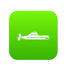 Submarine icon digital green vector