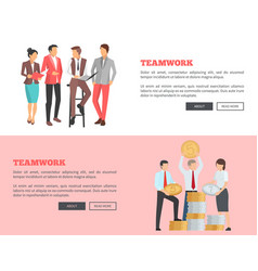 Teamwork collection of cartoon posters with text vector