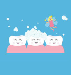 three tooth gum icon set tooth fairy flying wings vector image