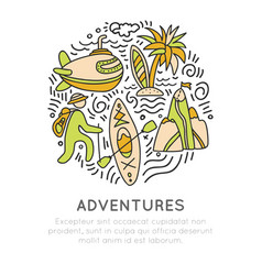 Travel outdoor adventure hand draw icon concept vector