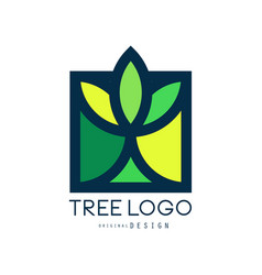 tree logo original design green eco bio badge vector image