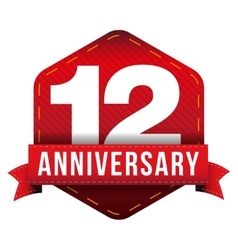 Twelve year anniversary badge with red ribbon vector
