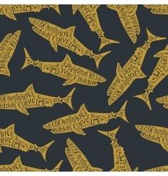 Typography lettering shark pattern vector