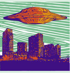 ufo with light flying over vector image