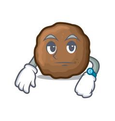 Waiting meatball mascot cartoon style vector
