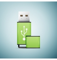 Green USB flash drive icon isolated on blue vector image