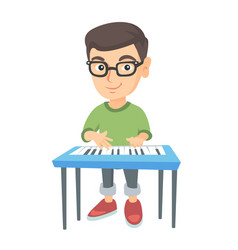 little caucasian boy playing the piano vector image vector image