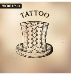 Steampunk tattoo hat vector image vector image