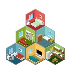 Flat 3d isometric house interior vector image vector image