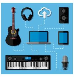 Home music studio concept vector image