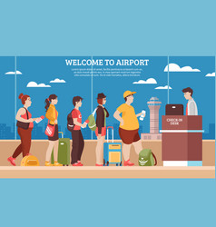 Airport queue vector