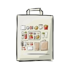 Bag with fast food sketch for your design vector image