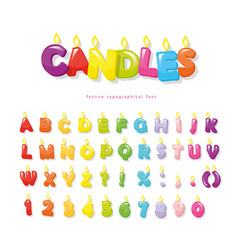 candles font festive cartoon letters and numbers vector image
