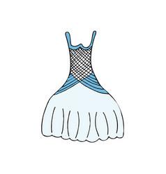 wedding dress cartoon hand drawn icon vector image