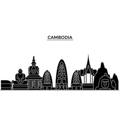 Cambodia architecture city skyline travel vector