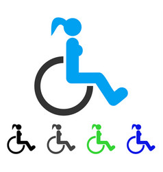 disabled woman flat icon vector image vector image