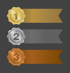 gold silver and bronze ribbons metal badges vector image vector image