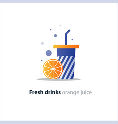 high glass with orange slice refreshing fruit vector image vector image