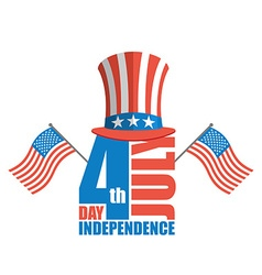 Independence Day in America Uncle Sam hat and USA vector image