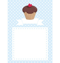 Invitation card with cupcake and polka dots vector image