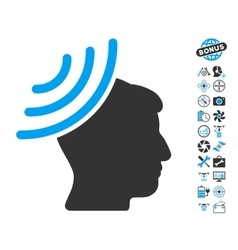 Radio Reception Mind Icon With Copter Tools Bonus vector image vector image