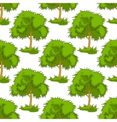 Seamless pattern of leafy green trees vector image