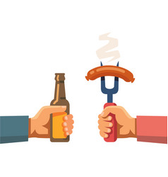 two hands holding beer botle and sausage on fork vector image vector image