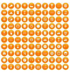 100 symbol icons set orange vector