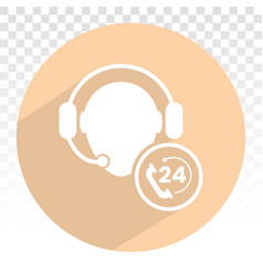 24 hour customer phone service flat icons vector