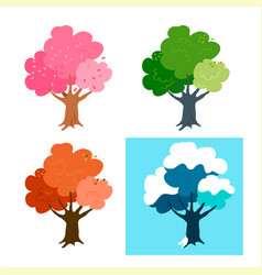 A set trees in four seasons apple vector