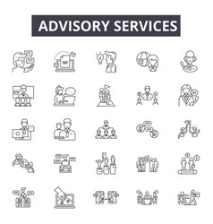 advisory services line icons signs set vector image