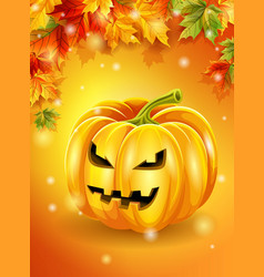 autumn leaves and pumpkin on wooden boards vector image