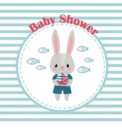 Baby shower invitation card with little rabbit vector image