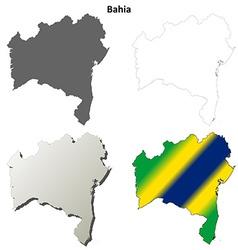 Bahia blank outline map set vector