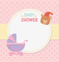 bashower circular card with bear teddy in baby vector image