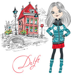beautiful girl in delft netherlands vector image