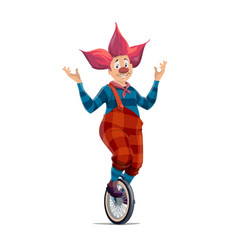 Big top circus clown in red wing on unicycle vector