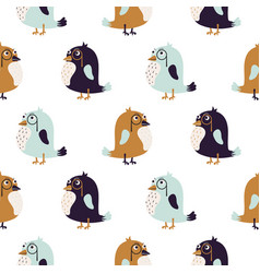 bird sir cute seamless pattern vector image