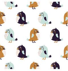 bird sir cute seamless pattern vector image