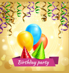 birthday celebration decorations realistic vector image