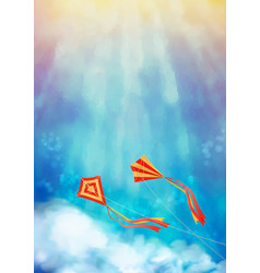 blue sky with kite vector image